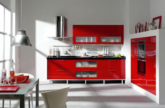 rojo en espacios de cocinas
