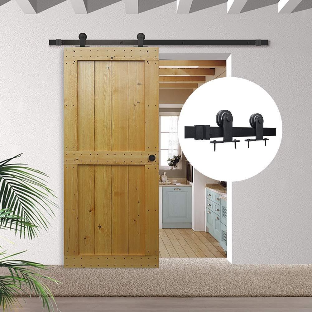 Herraje para paredes movibles  de granero corredizas de acero negro de montaje