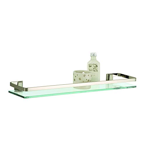 Organize It All 16911W-1 Wall Mounting Glass Shelf with Nickel Finish and Rail