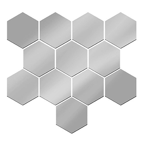 12 Piezas Pegatinas diseños de espejos Decorativas de Pared de Desprendible