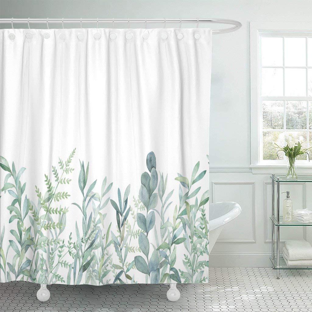 Cortina de ducha de tela con ganchos de color verde eucalipto, diseño floral