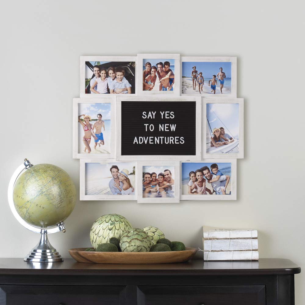 Melannco Customizable Letter Board with 8-Opening Photo