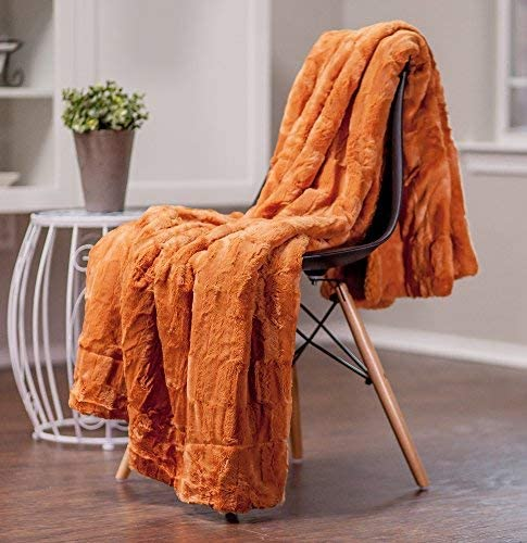 Chanasya - Manta rectangular de piel sintética para sofá de cama, Contemporáneo, Anaranjado