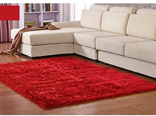 Ilios Innova Tapete Decorativo rojo Tipo Shag 2mx3m, de Fibra Larga, Suave y Caliente Ideal para Sala