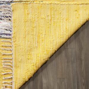 Alfombra de algodón tejida a mano Montauk Collection, MTK711Q-3, Marfil/Amarillo, 91.44 cm x 152.4 cm