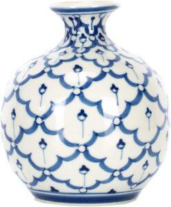 Sea Island - Jarrón de cerámica (porcelana, 10 cm), diseño redondo, color azul