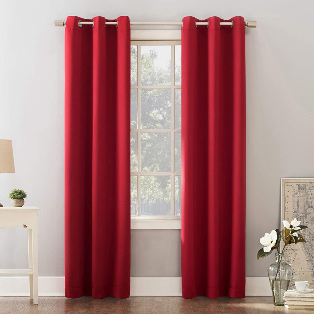 "Un Zero Riley - Cortina con Ojales, Rojo, 40"" x 95"" para decorar con color rojo"