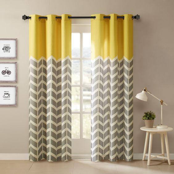 cortinas amarillas con gris al decorar con colores amarillos