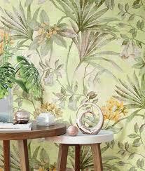 papel tapiz verde con plantas tendenzza decorar con colores verdes