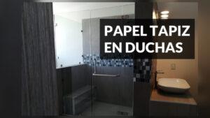 papel tapiz en duchas baño completo